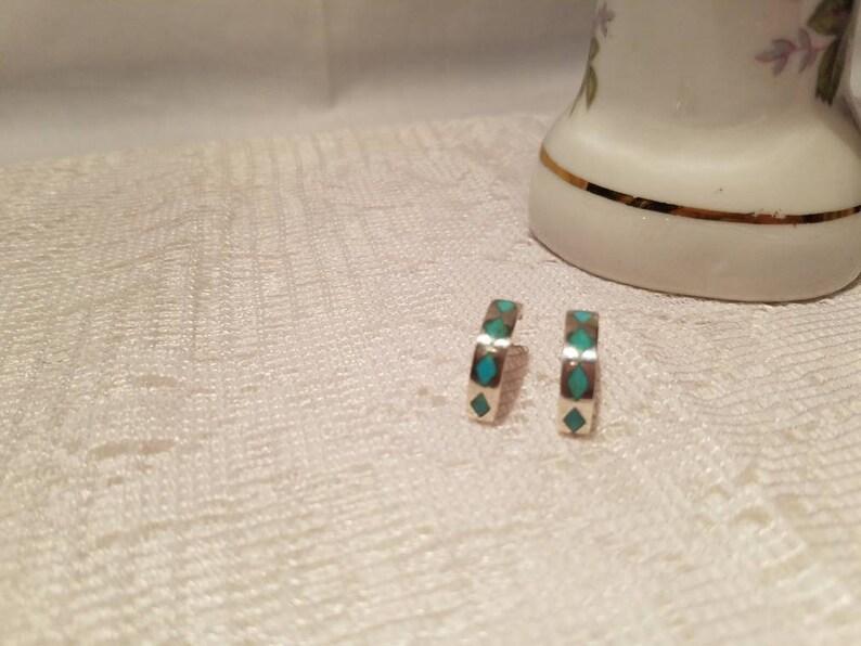 925 Silver and Turquoise Half Hoop Earrings