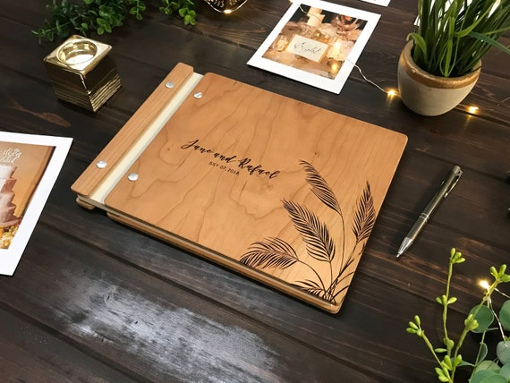 wooden guest book photo booth album wedding guestbook etsy