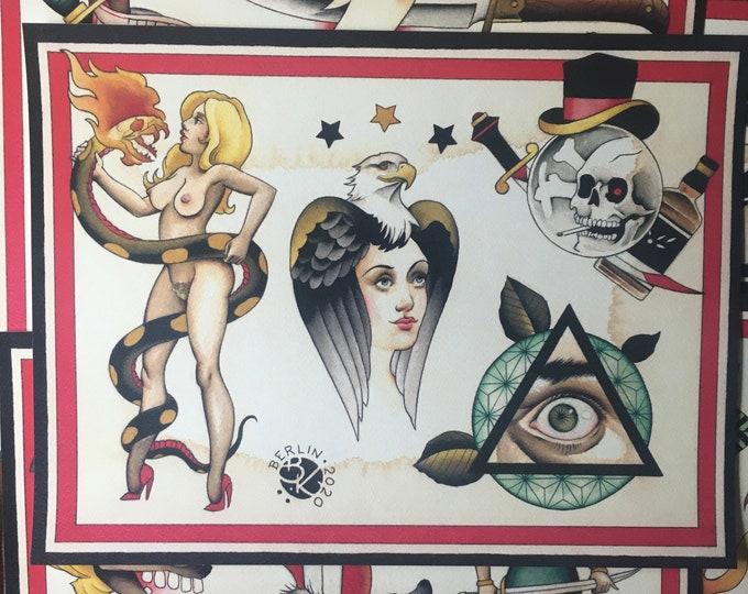 Tattoo Flash Set 48 by Brian Kelly. 6 sheets.