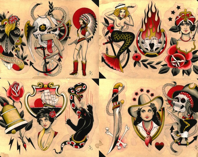 Tattoo Flash Set 34 by Brian Kelly. 4 sheets.