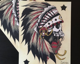 Native Woman with Skull Hat Tattoo Art Print