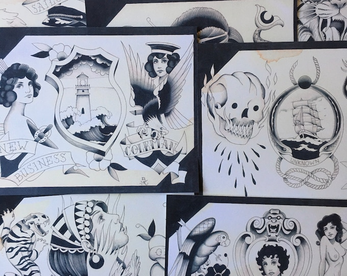 Shades of Grey No.2 Tattoo Flash Set 36 by Brian Kelly.  9 Sheets.