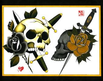 Christoph Dieskau and Brian Kelly Split Sheet of Tattoo Flash