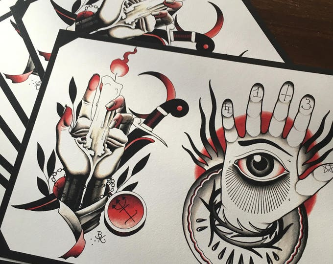 Eike Multhoff and Brian Kelly Split Sheet of Tattoo Flash
