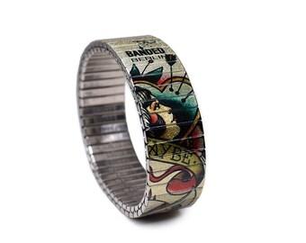 "Banded Berlin 18mm Brian Kelly Tattoo Flash Bracelet ""Man's Ruin"""