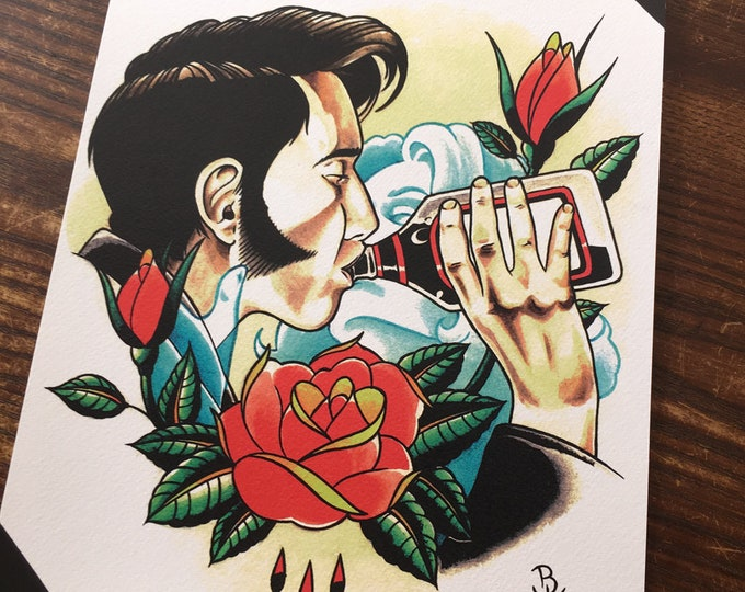 Kiss the Bottle Tattoo Art Print