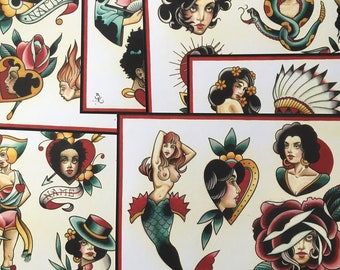 Girls, Girls, Girls no.2 Tattoo Flash Set 20 by Brian Kelly. 6 sheets.