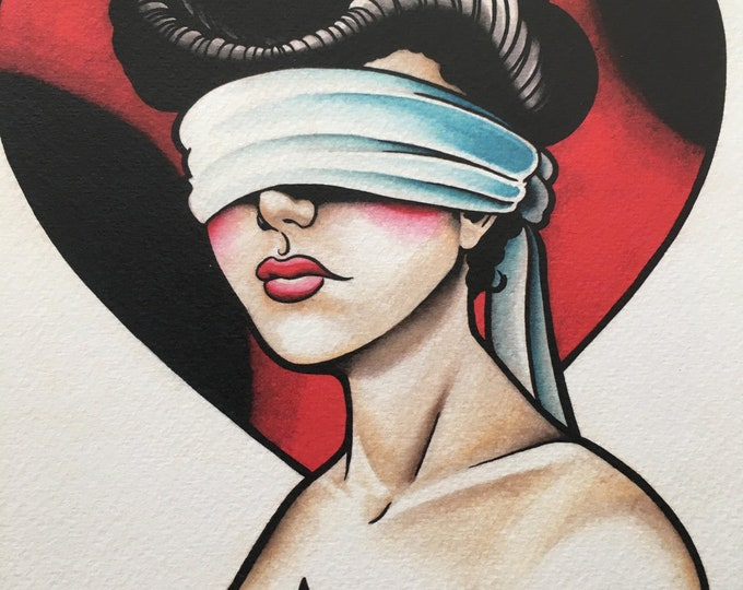 Blind Love Tattoo Art Print