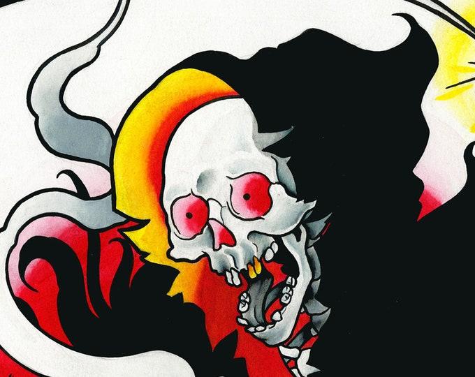 Death Comes Tattoo Art Print