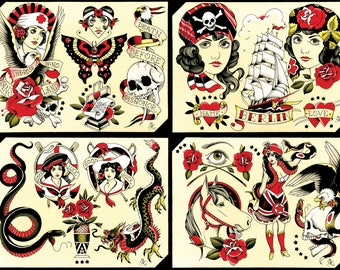 Tattoo Flash Set 27 by Brian Kelly. 4 sheets.
