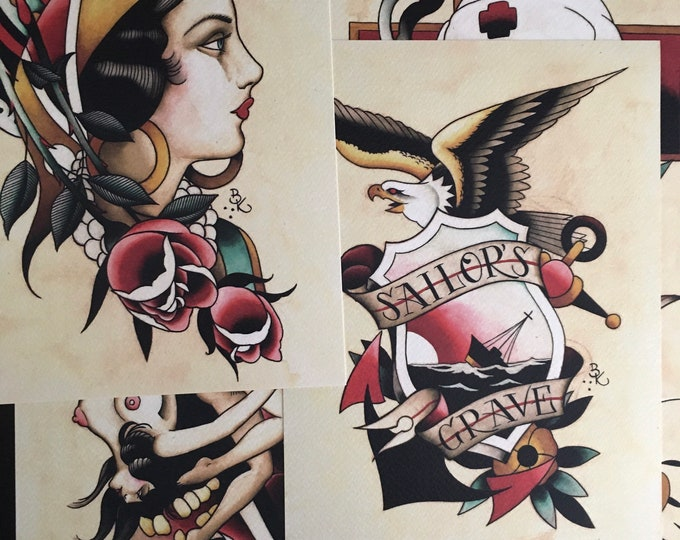 Set of 5 Tattoo Flash Art Prints