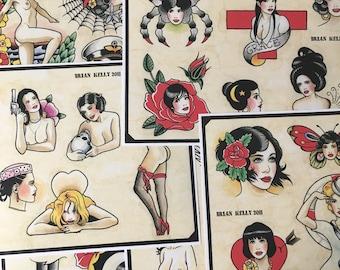 Girls, Girls, Girls Tattoo Flash Set 8 by Brian Kelly. 6 sheets.