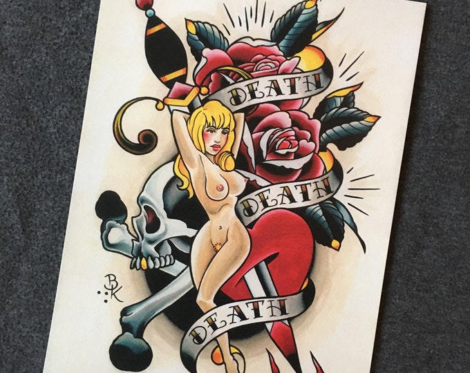 Death Death Death Tattoo Art Print