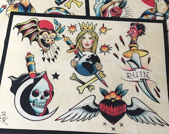 Tattoo Flash Set 13 by Brian Kelly.  4 sheets.