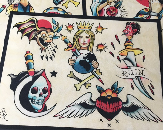 Tattoo Flash Set 13 by Brian Kelly.  4 sheets.
