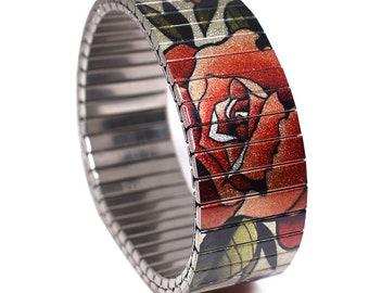 """Banded Bracelets 23mm """"Roses"""" Brian Kelly Tattoo Flash Bracelet"""