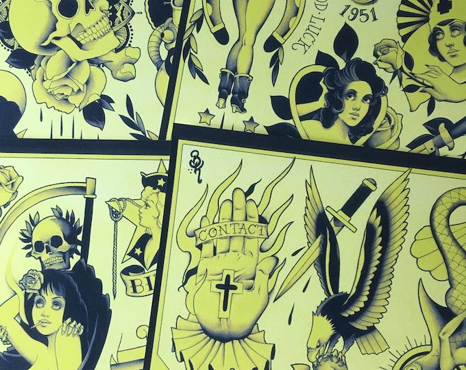 The Yellow Bastard Tattoo Flash Set 50 by Brian Kelly. 4 sheets.