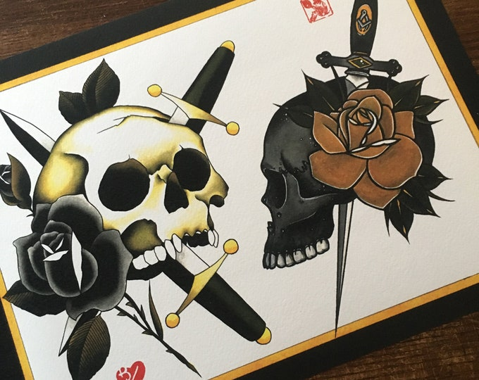 Christoph Dieskau and Brian Kelly Split Sheet of Tattoo Flash