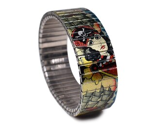 "Banded Berlin 18mm Brian Kelly Tattoo Flash Bracelet ""Pirates Bounty"""