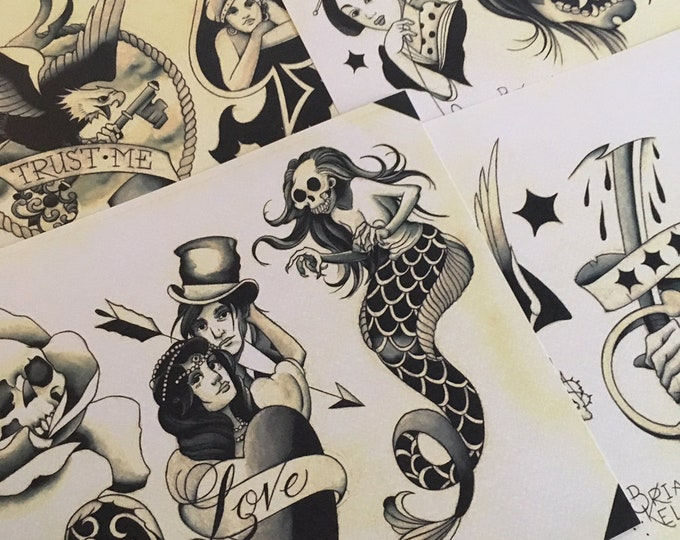Shades of Grey Tattoo Flash Set 32 by Brian Kelly. 4 Sheets.