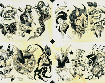 Shades of Grey Tattoo Flash Set 32 by Brian Kelly