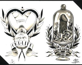 Steffi Boecker and Brian Kelly Split Sheet of Tattoo Flash