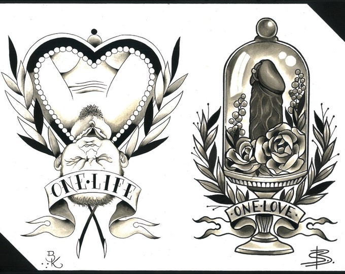 Steffi Boecker and Brian Kelly Split Sheet of Tattoo Flash
