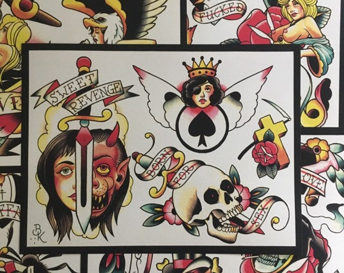 Tattoo Flash Set 14 by Brian Kelly.  6 sheets.