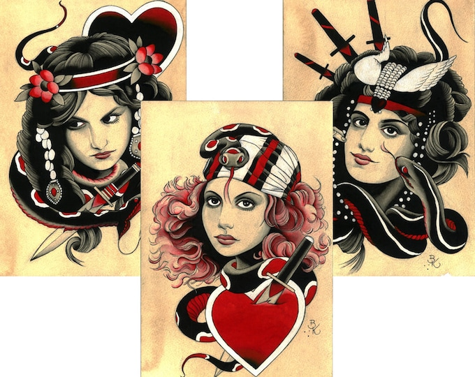 Gypsy Girls with Snakes and Daggers Tattoo Art Prints.  Set of 3.