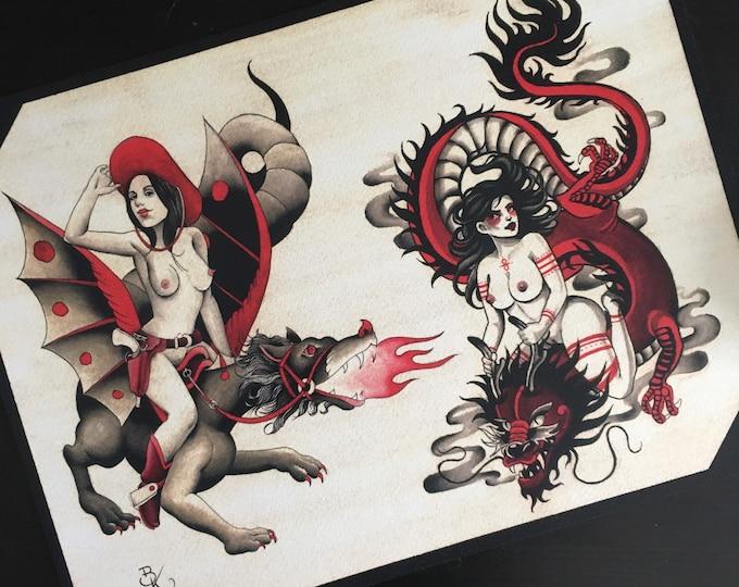 Clara Welsh and Brian Kelly Split Sheet of Tattoo Flash