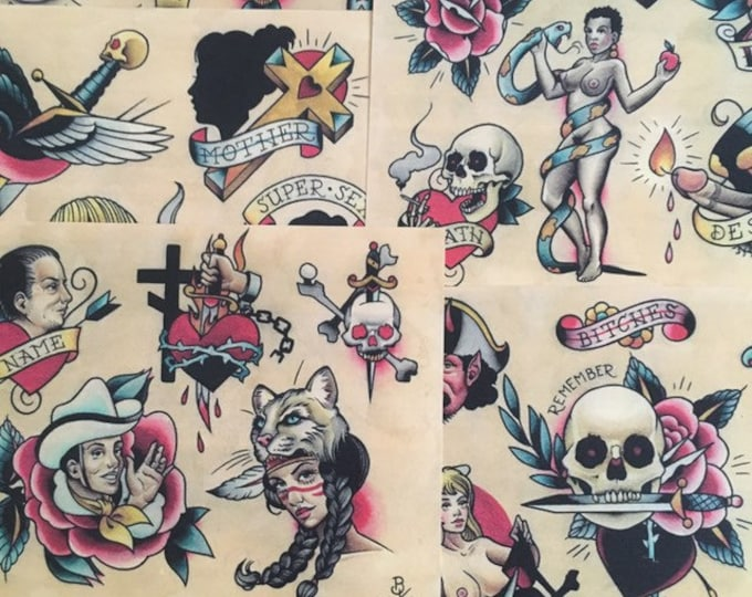 Tattoo Flash Set 15 by Brian Kelly.  6 sheets.