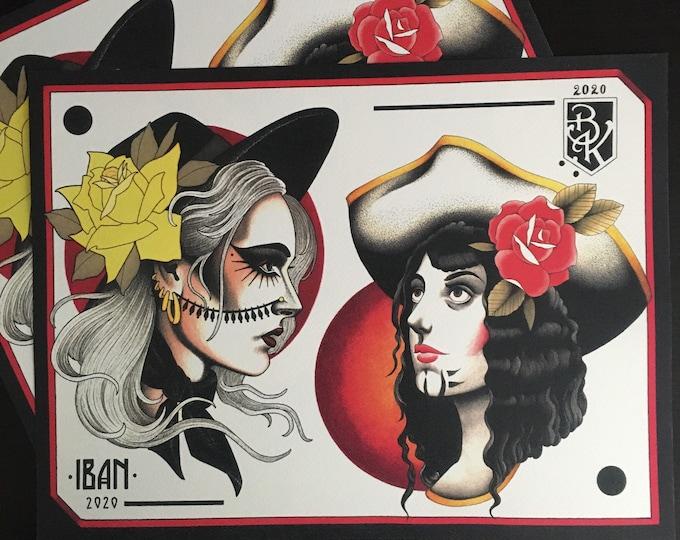 Iban Maya and Brian Kelly Split Sheet of Tattoo Flash