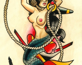 Even Mermaids Get the Blues Tattoo Art Print