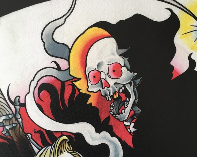 Death Cums Tattoo Art Print