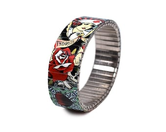 "Banded Berlin 18mm Brian Kelly Tattoo Flash Bracelet ""Nurse Love"""