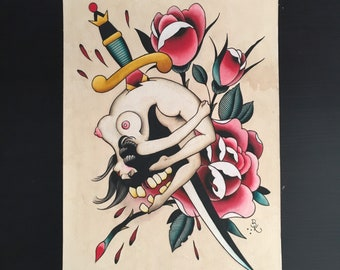Bent Back Girl with Dagger and Rose, Original Painting