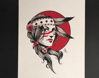 Native American Woman, Original Painting