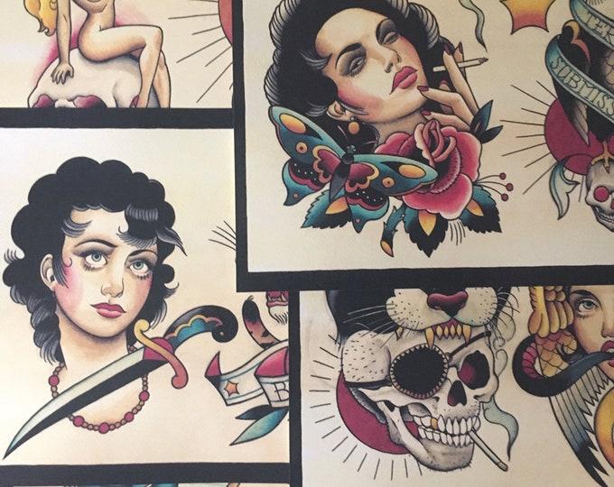 Tattoo Flash Set 21 by Brian Kelly. 6 Sheets.