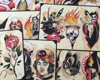 Tattoo Flash Set 33 by Brian Kelly. 7 Sheets.