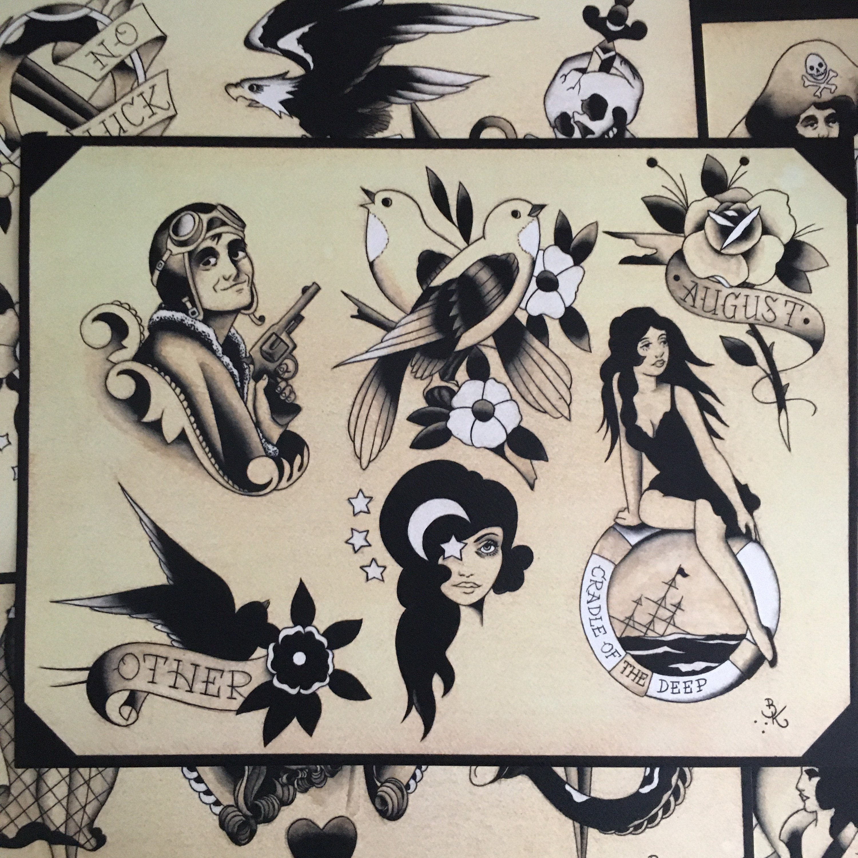 Black Grey And White Traditional Tattoo Flash Set 28 By Brian Kelly 5 Sheets