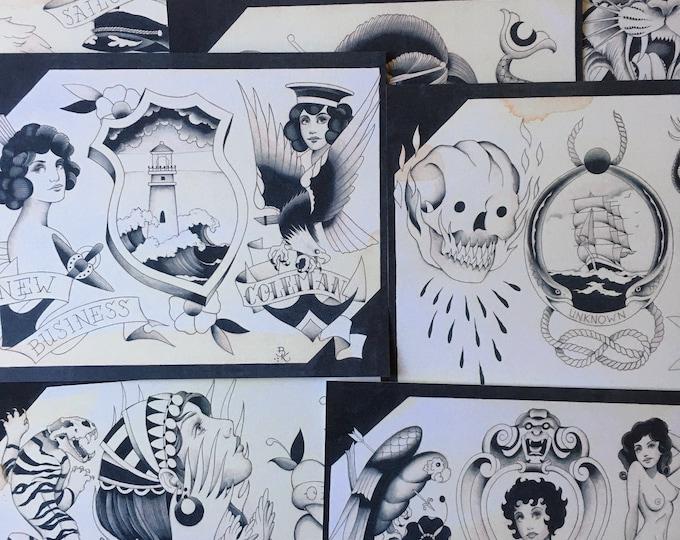 Shades of Grey No.2 Tattoo Flash Set 36 by Brian Kelly.  9 Sheets.