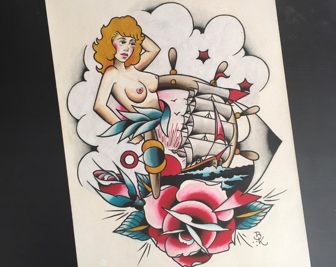 Sailor Jerry Re-Paint, Original Painting