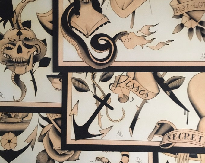 Tattoo Flash Set 42 by Brian Kelly. 5 Sheets.