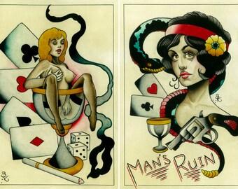Double Man's Ruin Tattoo Art Prints.  2 Sheets.