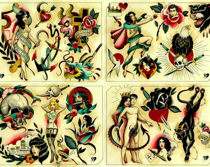 Tattoo Flash Set 23 by Brian Kelly. 4 sheets.