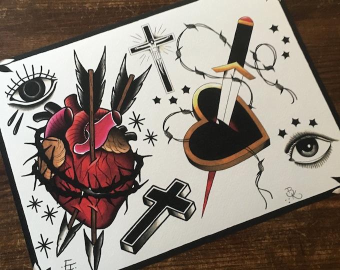 Eike Multhoff and Brian Kelly Split Sheet of Tattoo Flash No. 2