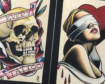 Blind Love No.2 & Every Tattoo Set of Art Prints. 2 sheets.