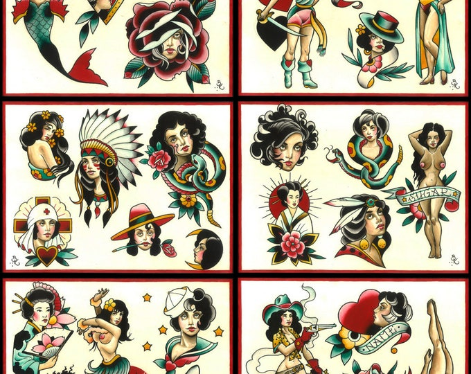 Girls, Girls, Girls no.2 Tattoo Flash Set 20 by Brian Kelly. 6 sheets.