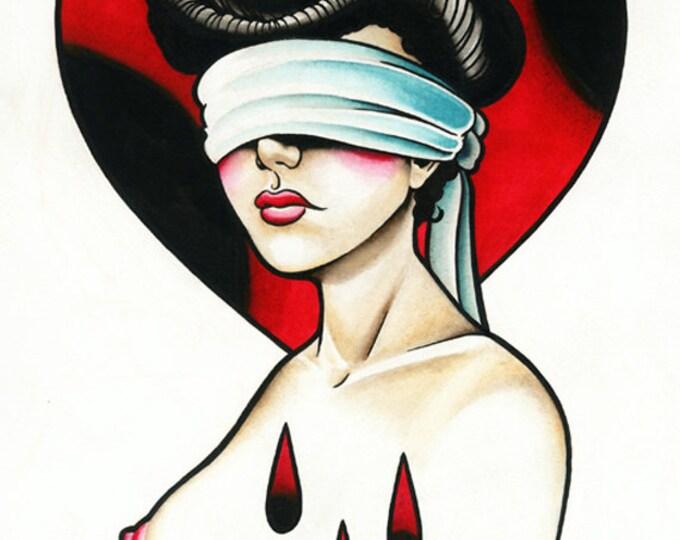 Blind Love Tattoo Art Print