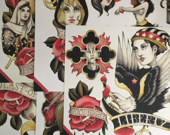 Tattoo Flash 46 by Brian Kelly. 5 sheets.